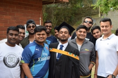 Bachelor of Commerce in Accounting Graduate Mr Bhaanprakash Adhikar with his friends