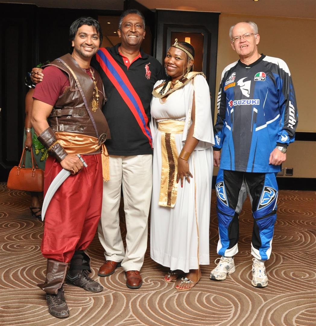 Getting_ready_to_party_are_Prince_of_Persia_Mr_Aman_Mahomed_Polo_Player_Professor_Karthy_Govender_Cleopatra_Hazel_Langa_and_Biker_Professor_Phil_Stegen