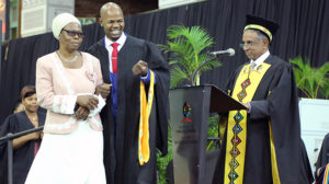 Mr Lucky Shange received a standing ovation when his mother Ms Thembi Dlodlo walked him across the graduation stage.