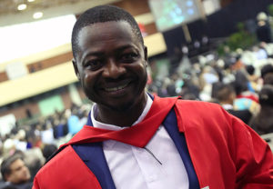 Excited graduate, Dr Adebayo Kutu received his PhD during the Law and Management Studies Graduation ceremony.