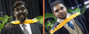 Mr Roland David (left) and Mr Sudhindra Naidoo graduated with their MBA degrees cum laude.