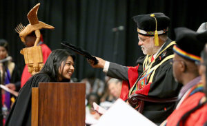 Ms Serena Gobindlall being awarded a BCom Accounting degree cum laude.