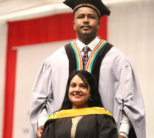 UKZN academic Ms Navitha Singh Sewpersardh pictured with Mr Fanle Sibisi, President of UKZN Convocation.